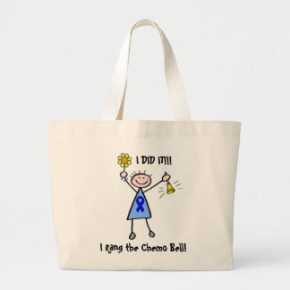 Chemo Bell - Colon Cancer Woman Large Tote Bag