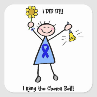 Chemo Bell - Colon Cancer Woman Square Sticker