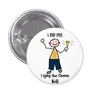 Chemo Bell - Gold Ribbon Male 1 Inch Round Button