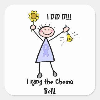 Chemo Bell - hembra de la cinta de la lavanda Pegatina Cuadrada
