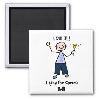 Chemo Bell Man - Periwinkle Ribbon Stomach Cancer 2 Inch Square Magnet