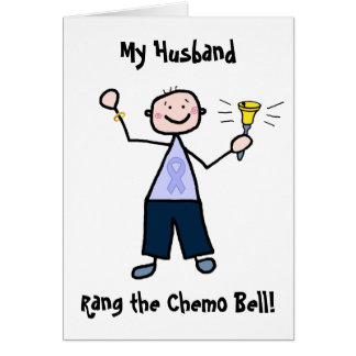 Chemo Bell Man - Periwinkle Ribbon Stomach Cancer Card