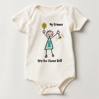 Chemo Bell - Ovarian Cancer Teal Ribbon Baby Bodysuit