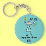 Chemo Bell - Ovarian Cancer Teal Ribbon Basic Round Button Keychain
