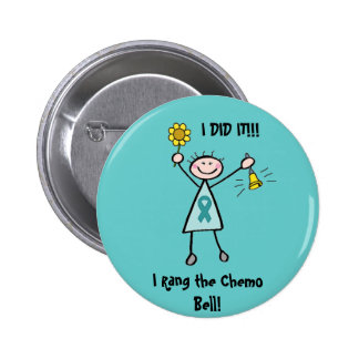 Chemo Bell - Ovarian Cancer Teal Ribbon Button