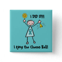 Chemo Bell - Ovarian Cancer Teal Ribbon Pinback Button