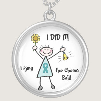 Chemo Bell - Ovarian Cancer Teal Ribbon Silver Plated Necklace