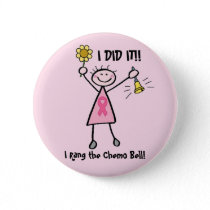 Chemo Bell - Pink Ribbon Breast Cancer Pinback Button