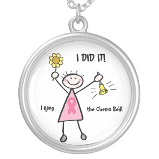 Chemo Bell - Pink Ribbon Breast Cancer Round Pendant Necklace