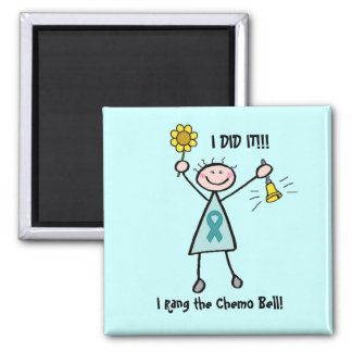 Chemo Bell - Teal Ribbon 2 Inch Square Magnet