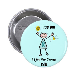 Chemo Bell - Teal Ribbon Pinback Buttons