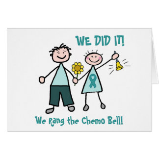 Chemo Bell - Teal Ribbon Greeting Cards