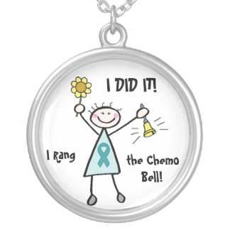 Chemo Bell - Teal Ribbon Round Pendant Necklace