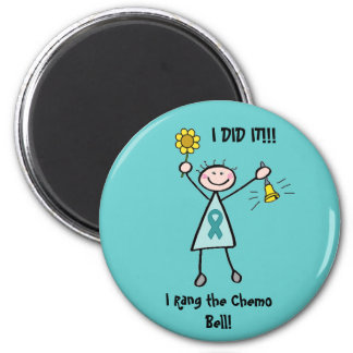Chemo Bell - Uterine Cancer Teal Ribbon 2 Inch Round Magnet