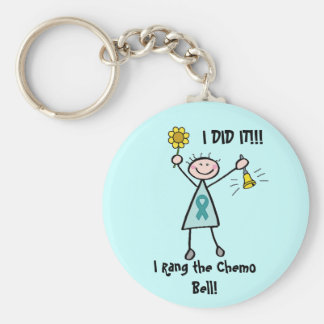 Chemo Bell - Uterine Cancer Teal Ribbon Basic Round Button Keychain