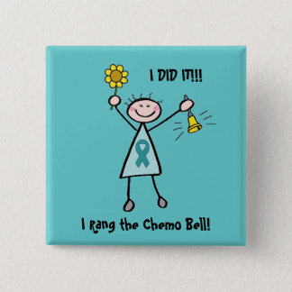 Chemo Bell - Uterine Cancer Teal Ribbon Button