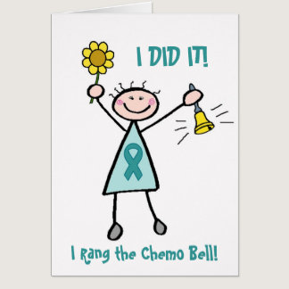 Chemo Bell - Uterine Cancer Teal Ribbon Card
