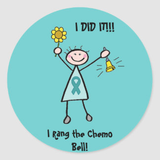 Chemo Bell - Uterine Cancer Teal Ribbon Classic Round Sticker