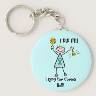 Chemo Bell - Uterine Cancer Teal Ribbon Keychain