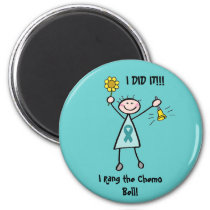 Chemo Bell - Uterine Cancer Teal Ribbon Magnet