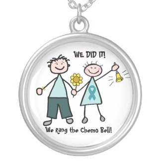 Chemo Bell - Uterine Cancer Teal Ribbon Round Pendant Necklace