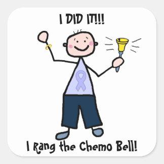 Chemo Bell - varón de la cinta de la lavanda Pegatina Cuadrada