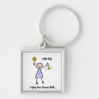 Chemo Bell - Woman General Cancer Silver-Colored Square Keychain
