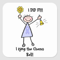 Chemo Bell - Woman General Cancer Square Sticker