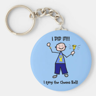 Chemo Bell - Yellow Ribbon Testicular Cancer Basic Round Button Keychain