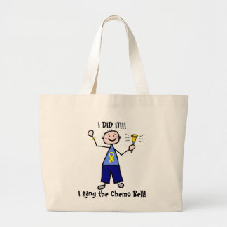 Chemo Bell - Yellow Ribbon Testicular Cancer Large Tote Bag
