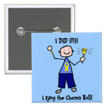 Chemo Bell - Yellow Ribbon Testicular Cancer Pinback Button