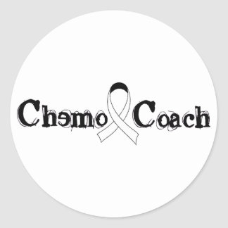 Chemo Coach - Lung Cancer White Ribbon Classic Round Sticker
