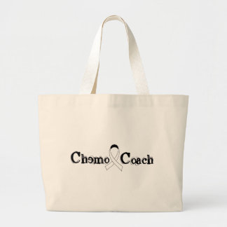 Chemo Coach - Lung Cancer White Ribbon Large Tote Bag