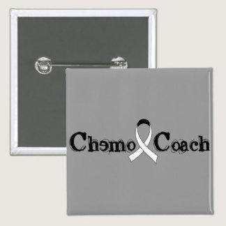 Chemo Coach - Lung Cancer White Ribbon Pinback Button