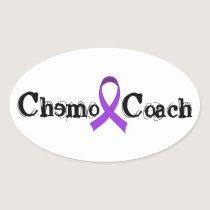 Chemo Coach - Violet Ribbon Oval Sticker