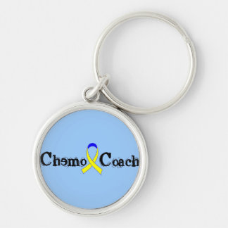 Chemo Coach - Yellow Ribbon Silver-Colored Round Keychain