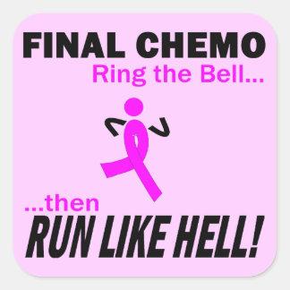 Chemo final corre mucho - cáncer de pecho pegatina cuadrada