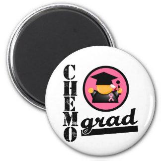 Chemo Grad Breast Cancer Ribbon 2 Inch Round Magnet