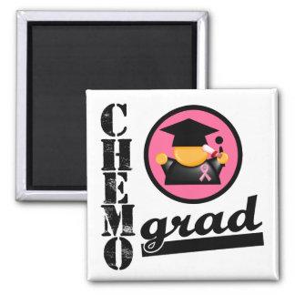 Chemo Grad Breast Cancer Ribbon 2 Inch Square Magnet