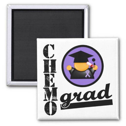 Chemo Grad Hodgkin's Lymphoma Ribbon 2 Inch Square Magnet