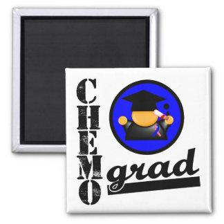 Chemo Grad Male Breast Cancer Ribbon 2 Inch Square Magnet