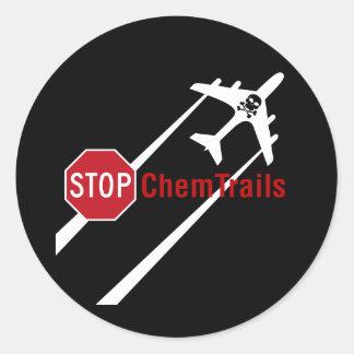 Chemtrail Plane Presistent Contrails Skull Bones Classic Round Sticker