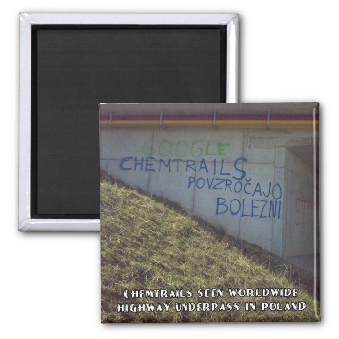 Chemtrails Are Worldwide 2 Inch Square Magnet