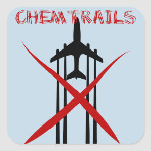Chemtrails Are Wrong on blue Square Sticker