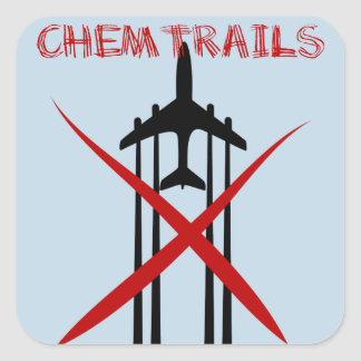 Chemtrails Are Wrong on blue Square Stickers