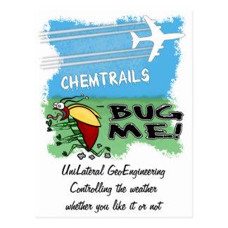 Chemtrails de rociadura planos en insecto tarjetas postales