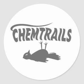CHEMTRAILS DEATH DUMPS CLASSIC ROUND STICKER