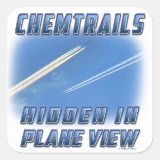 Chemtrails en la visión plana pegatina cuadrada