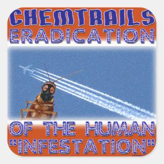 Chemtrails - erradicación de los seres humanos calcomania cuadradas personalizada
