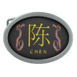Chen Monogram Snake Oval Belt Buckles